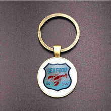 Load image into Gallery viewer, Suteyi Punk Design Route 66 Sign Bronze Key Chains Glass Dome Art 66 Route Logo Souvenir Keychains Holder Women Men Gifts
