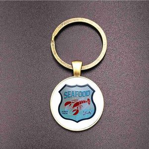 Suteyi Punk Design Route 66 Sign Bronze Key Chains Glass Dome Art 66 Route Logo Souvenir Keychains Holder Women Men Gifts