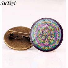 Load image into Gallery viewer, Suteyi Artistic Picture Route 66 Signs Brooches Charming Men And Women Gifts Round Glass Cabochon Pins Handmade Brooch