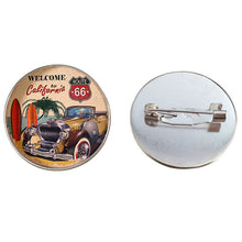 Load image into Gallery viewer, SUTEYI Fashion Handmade Brooches Glass Cabochon Pins Signs USA ROUTE 66 Restaurant Coffee Art Pattern Brooch For Men Jewelry