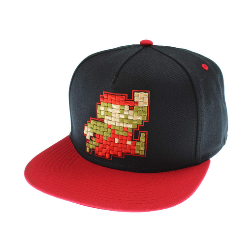 Bioworld - Nintendo Super Mario Hat Pixel Mario Character Black Snapback Hat - One Size