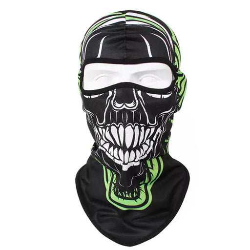 UV Protection Balaclava Green Skull