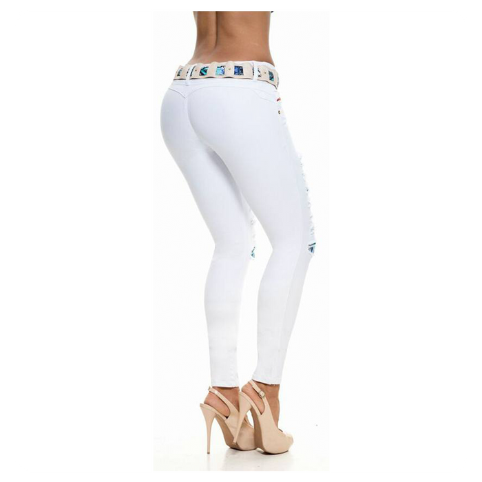 Colombian Design, Low Waist, Butt Lift, Skinny Jeans White