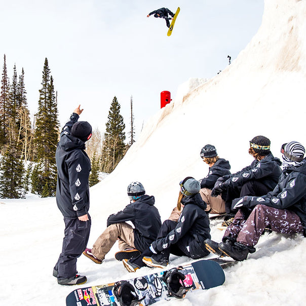 Group of Volcom riders wearing Volcom Outerwear.