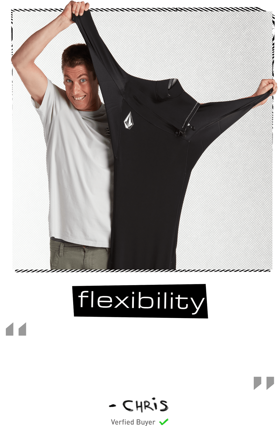 surfer pulling on wetsuit flexibility feel review by chris verified buyer