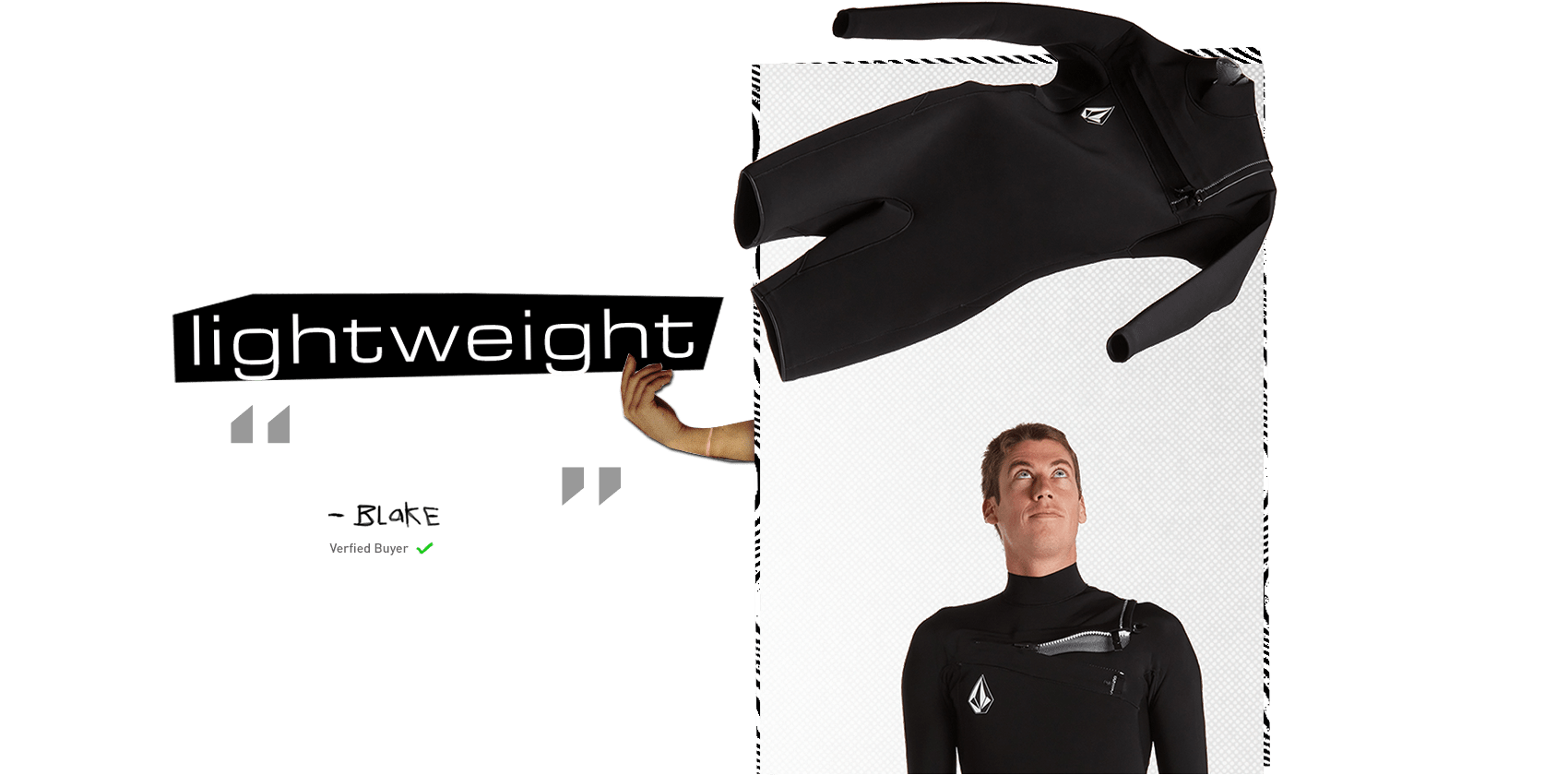 surfer throwing lightweight wetsuit in the air review by blake verified buyer