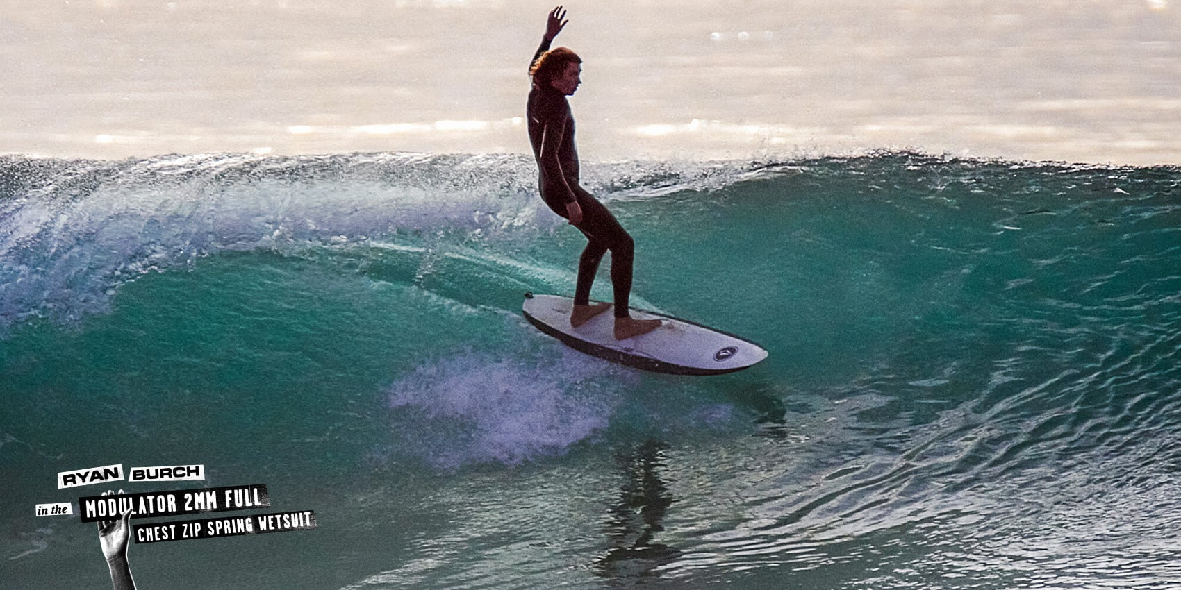 ryan burch surfing wave style in the Modulator 2mm Full Chest Zip Spring Wetsuit