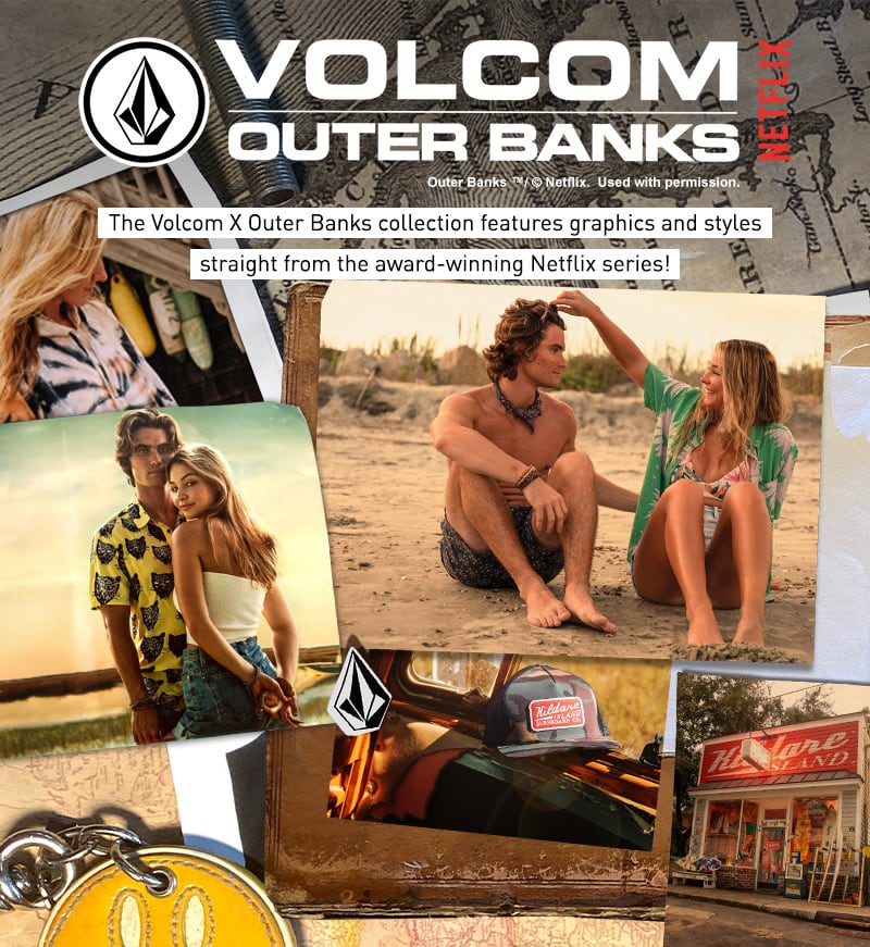 The Volcom X Outer Banks collection features graphics and styles straight from the award winning Netflix series