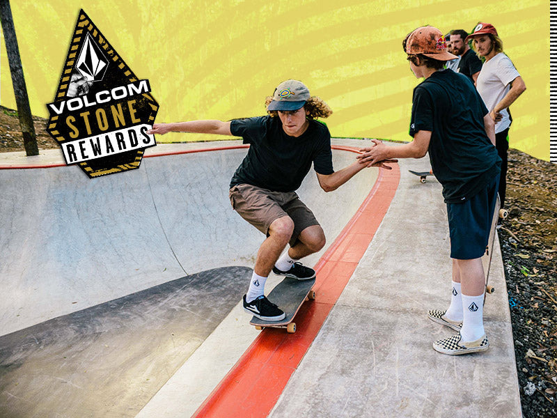 Volcom Riders and Ambassadors skating on the edge of a bowl