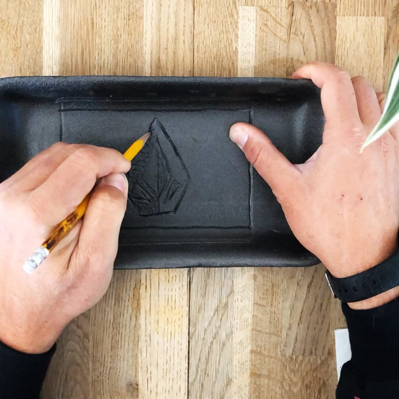 draw your design on the styrofoam