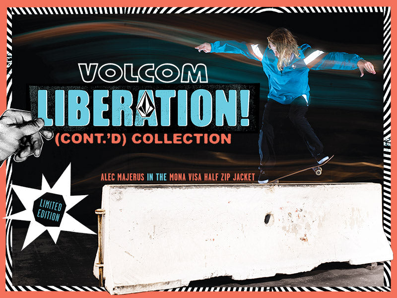 Alec Majerus doing a trick on a skateboard wearing Volcom Liberation Cont'd apparel.