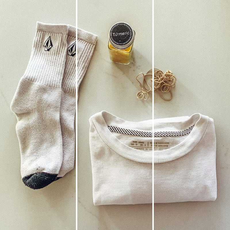 socks white shirt turmeric and rubberbands