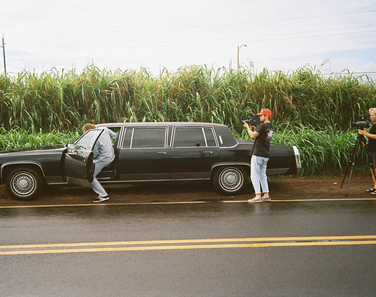Noa Deane in a limo