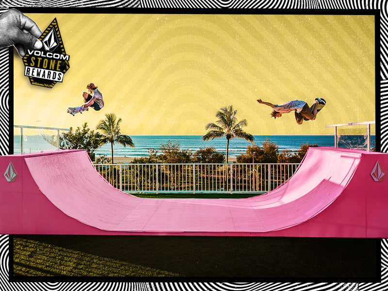 A group of skateboarders riding on a pink half pipe, promoting the Volcom Stone Rewards program.