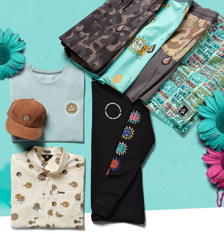 An assortment of Volcom apparel, from the Summer 19 collection, that includes Hats, Tees, Button Down Shirts, Shorts, and Trunks.