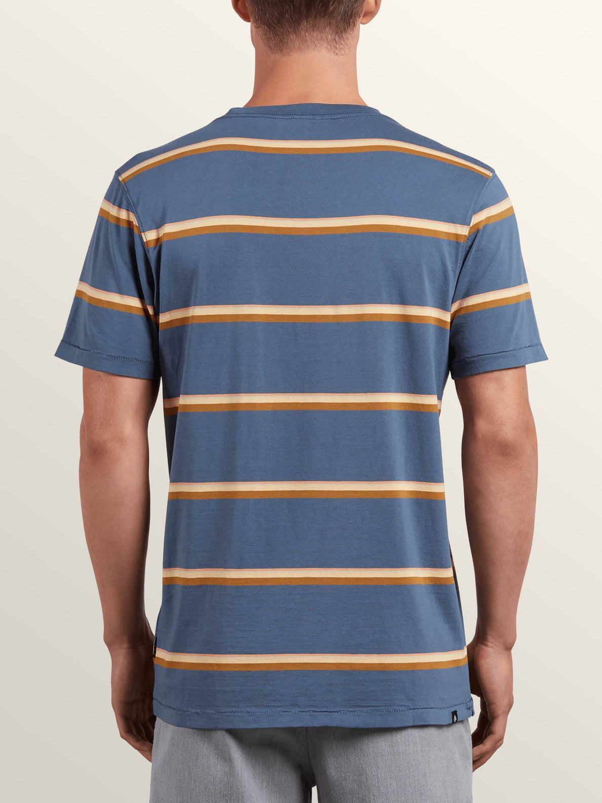 Sheldon Crew Tee In Deep Blue, Back View