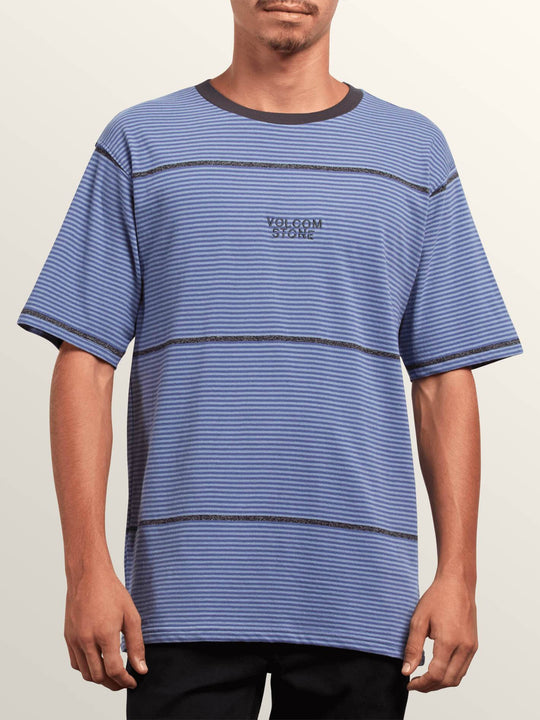 Noa Noise Short Sleeve Shirt In Stone Blue, Front View