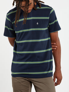 Da Fino Stripe Crew Short Sleeve - Navy (A0132003_NVY) [9]