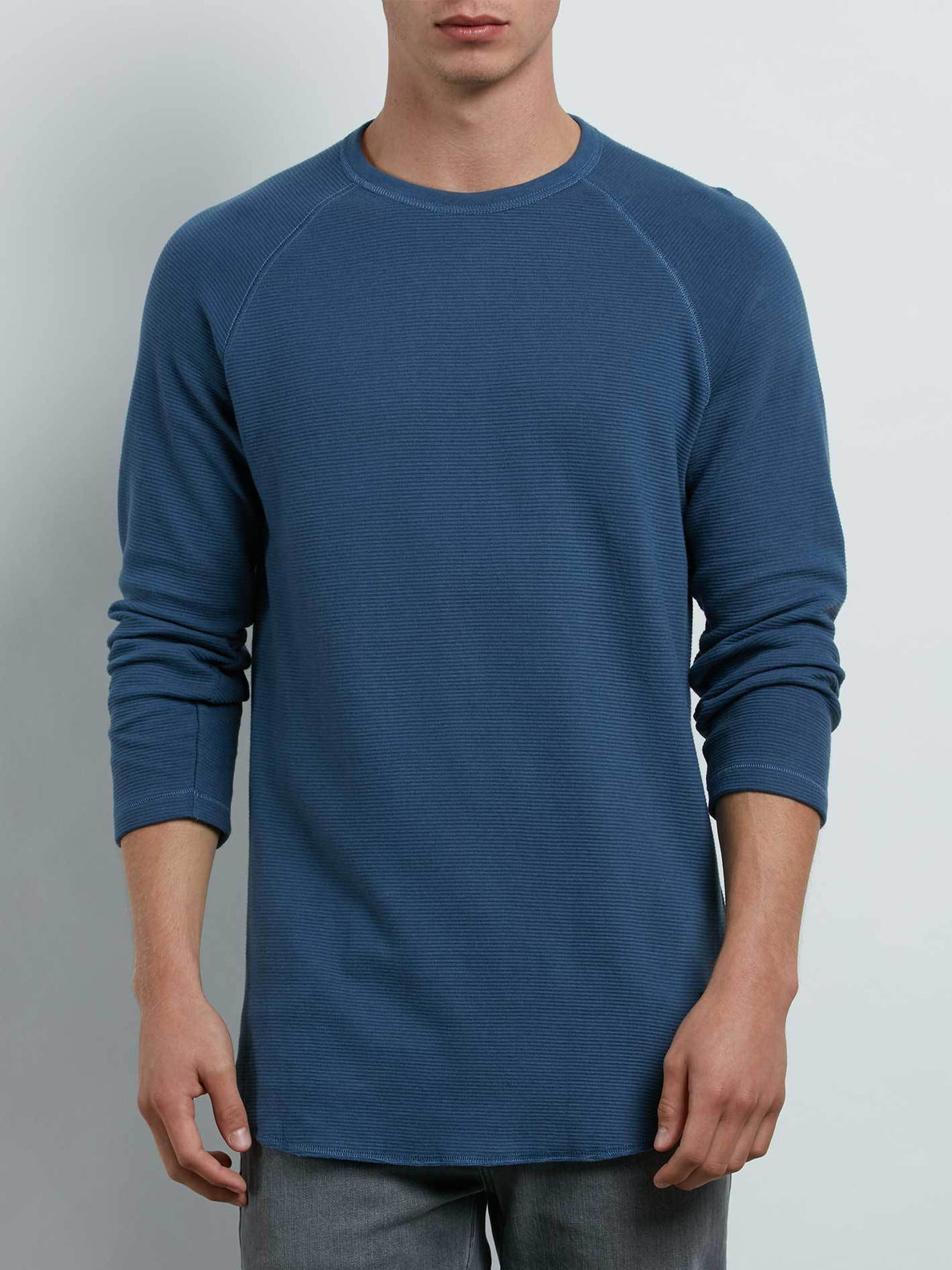 Warren 3/4 Raglan In Deep Blue, Front View