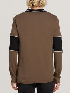 Thrifter Long Sleeve Polo In Mushroom, Back View