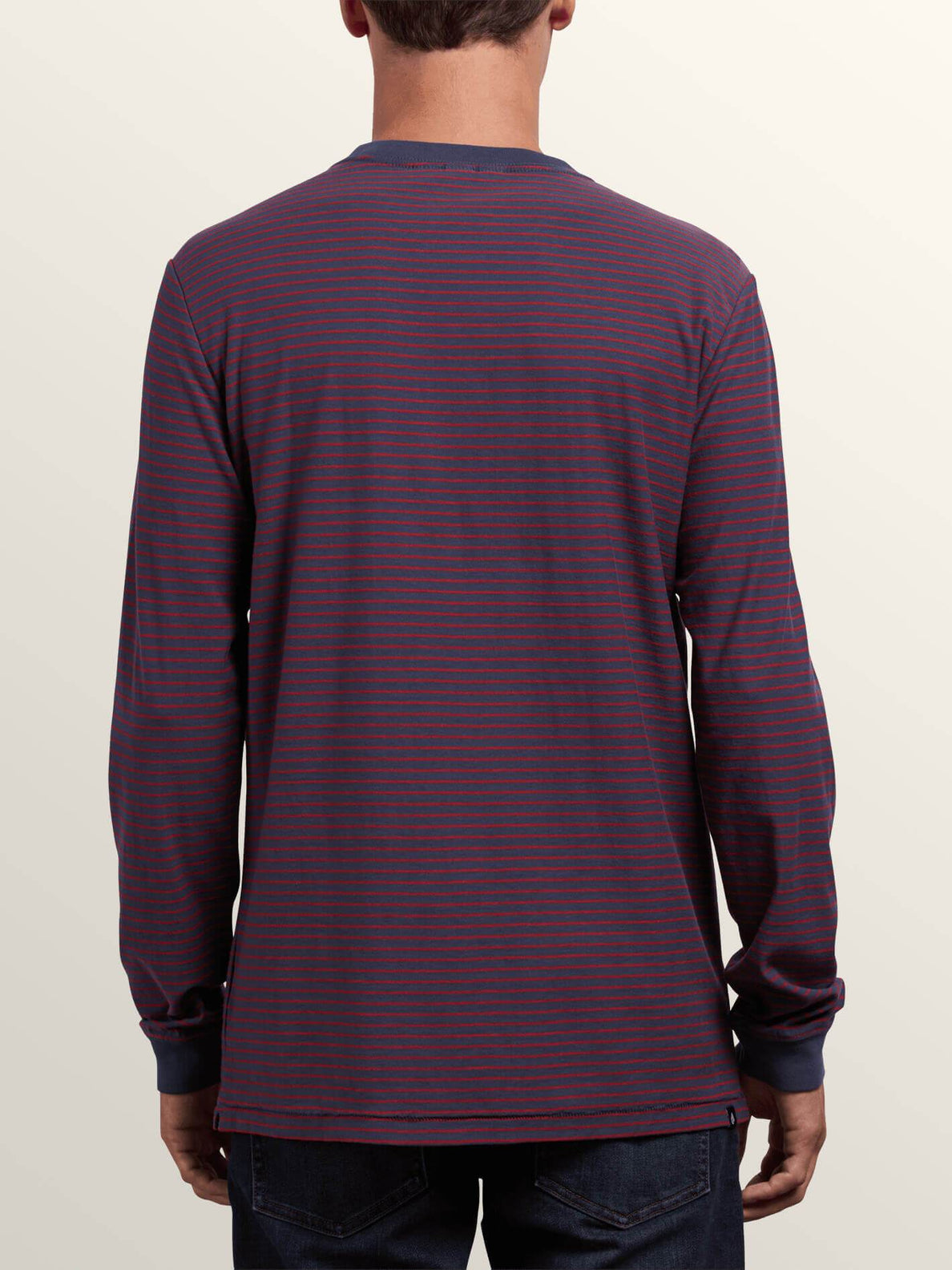 Randall Crew Long Sleeve Tee In Midnight Blue, Back View