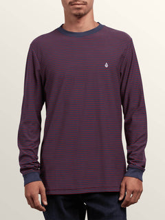 Randall Crew Long Sleeve Tee In Midnight Blue, Front View