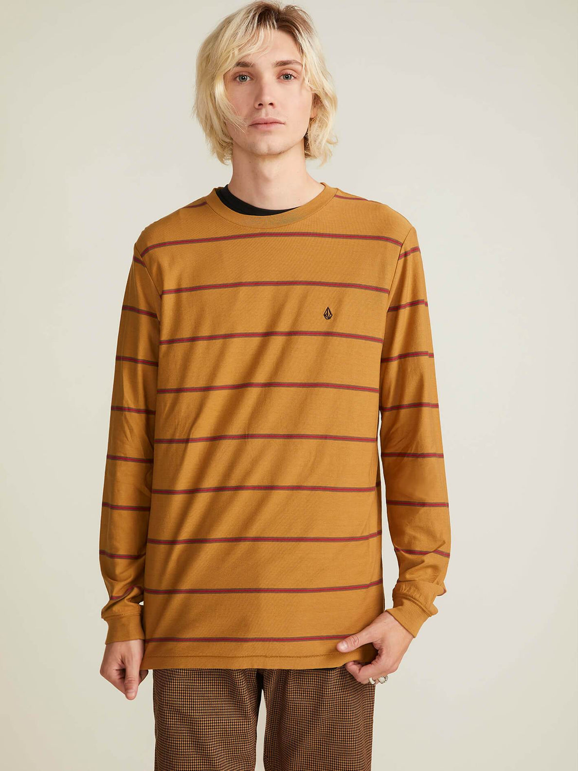 Randall Crew Long Sleeve Tee In Old Gold, Second Alternate View