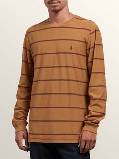 Randall Crew Long Sleeve Tee In Old Gold, Front View