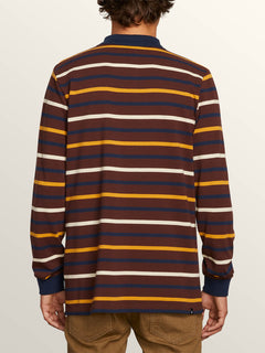 Gon James Long Sleeve Shirt In Bordeaux Brown, Back View