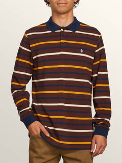 Gon James Long Sleeve Shirt In Bordeaux Brown, Front View