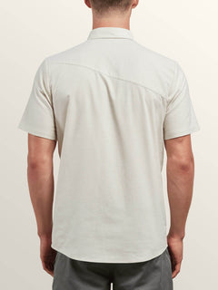 Everett Oxford Short Sleeve Shirt In Lint, Back View