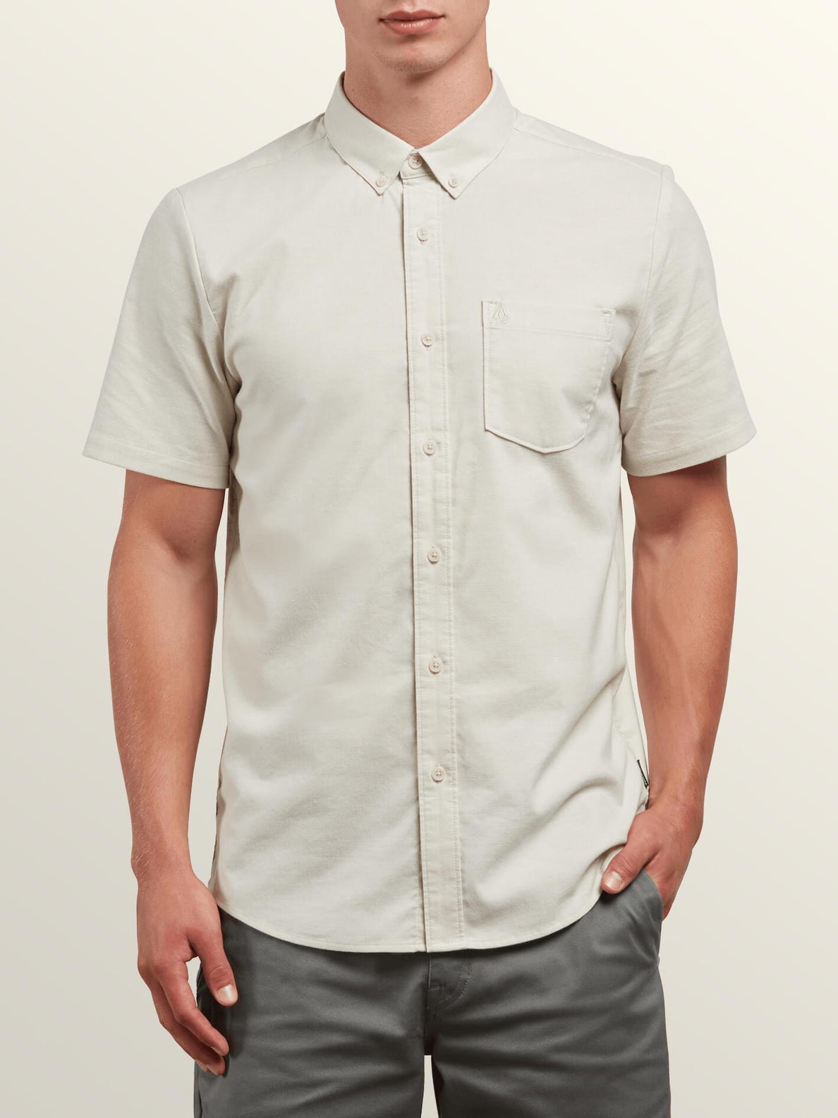 Everett Oxford Short Sleeve Shirt In Lint, Front View