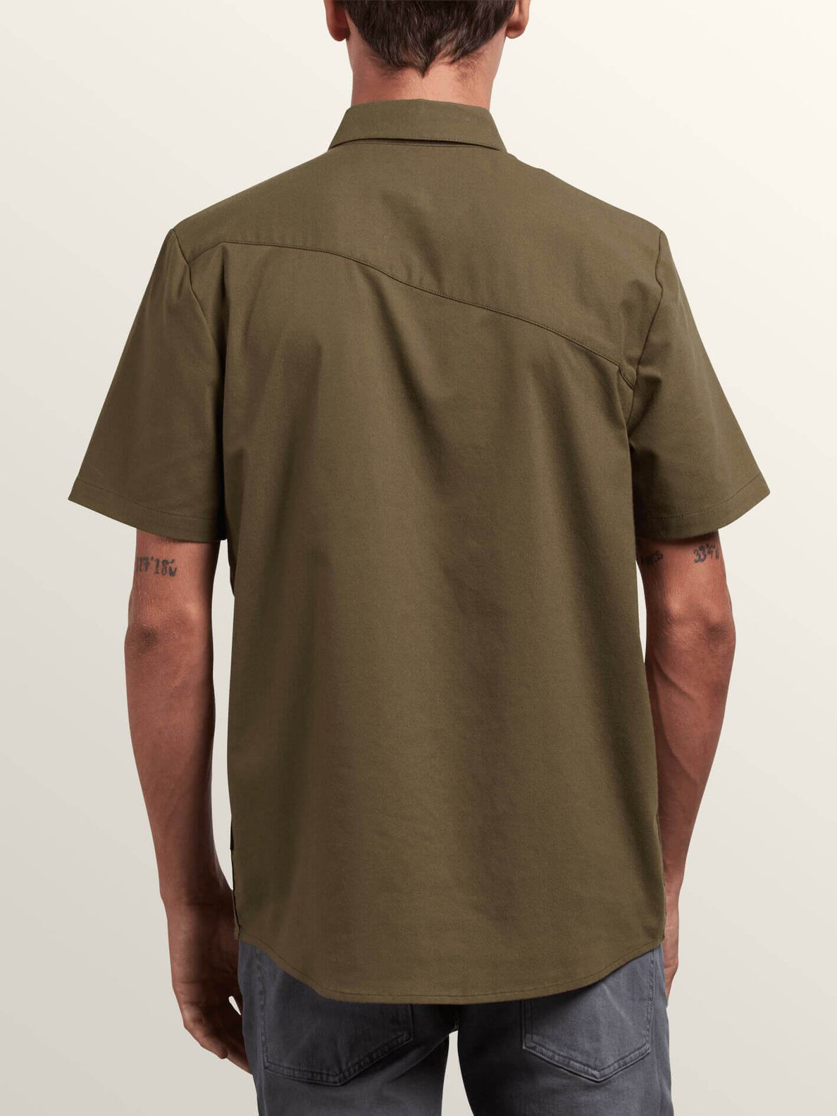 Everett Oxford Short Sleeve Shirt In Snow Military, Back View