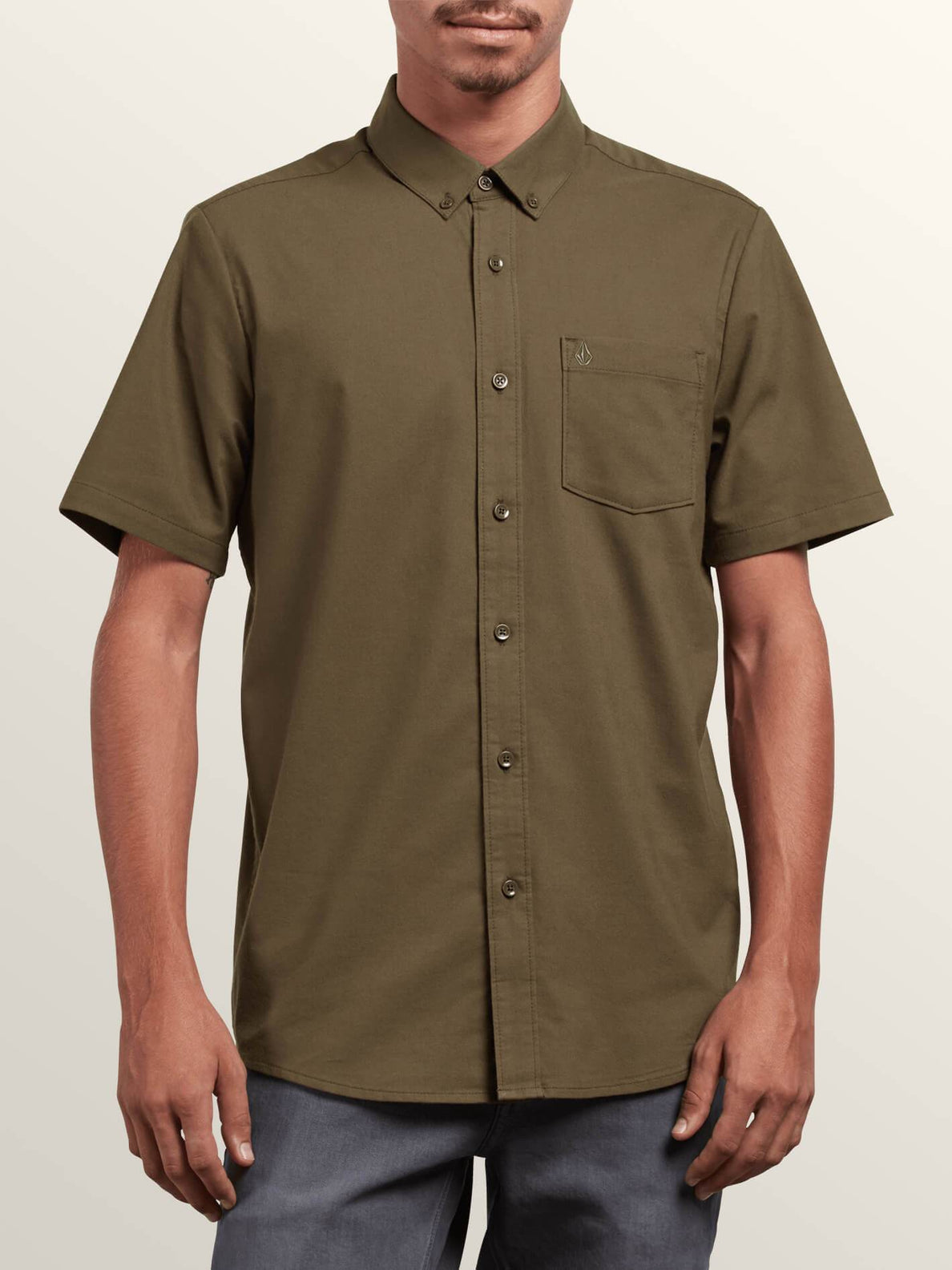 Everett Oxford Short Sleeve Shirt In Snow Military, Front View