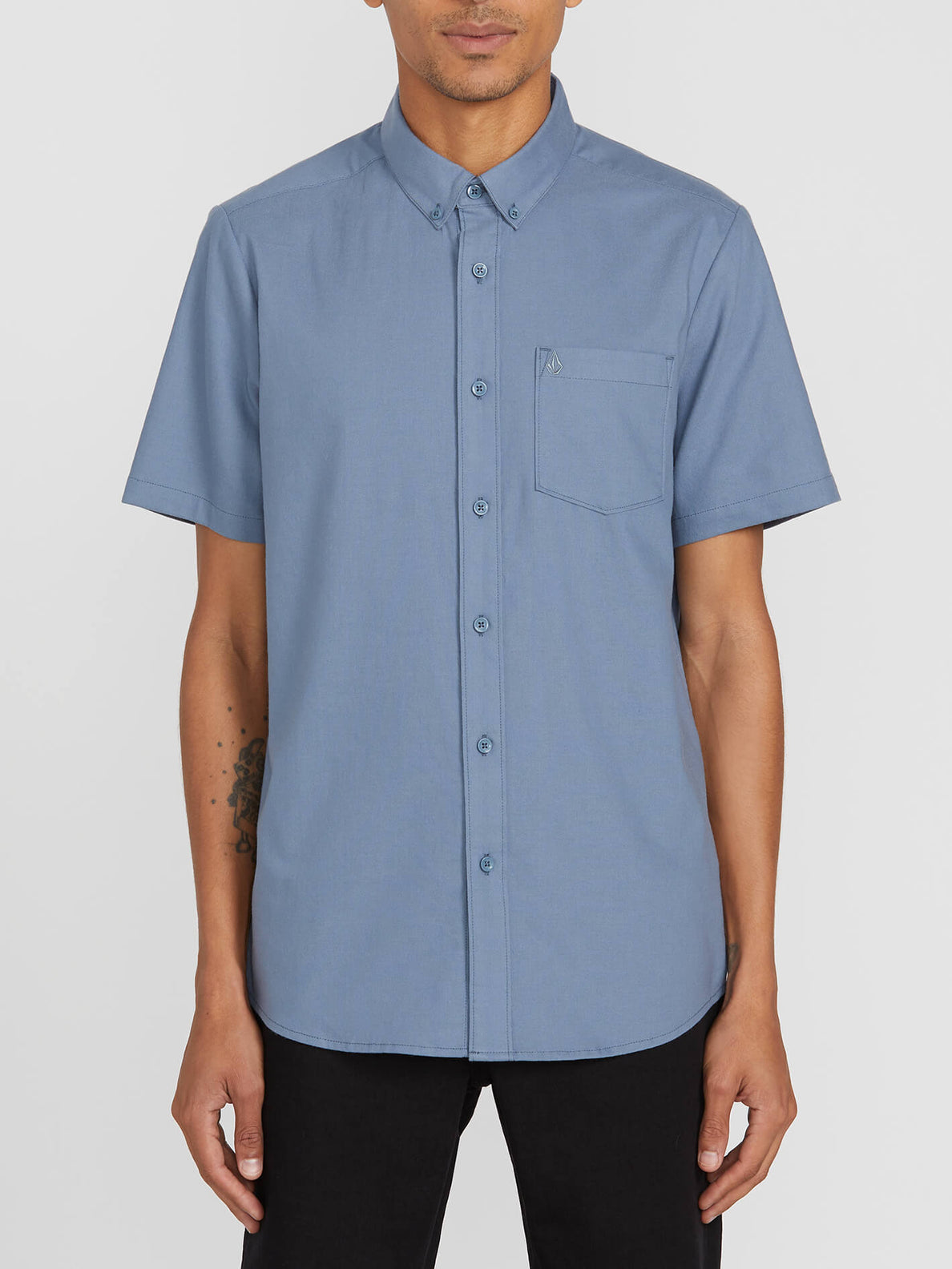 Everett Oxford Short Sleeve - Stormy Blue (A0411801_STB) [F]