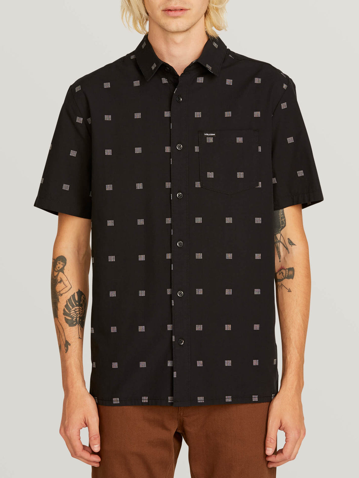 Morty Short Sleeve Shirt In Black, Front View