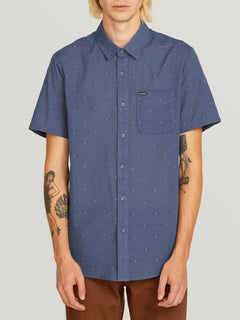 Magstone Short Sleeve Shirt In Indigo, Front View