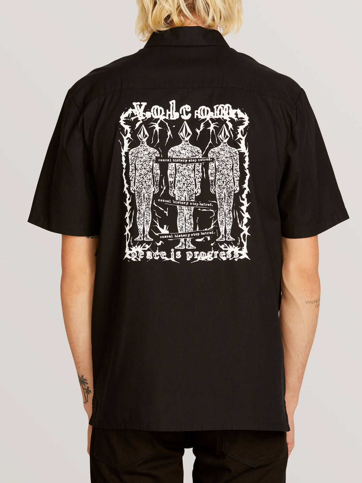 Crowd Control Short Sleeve Shirt In Black, Back View