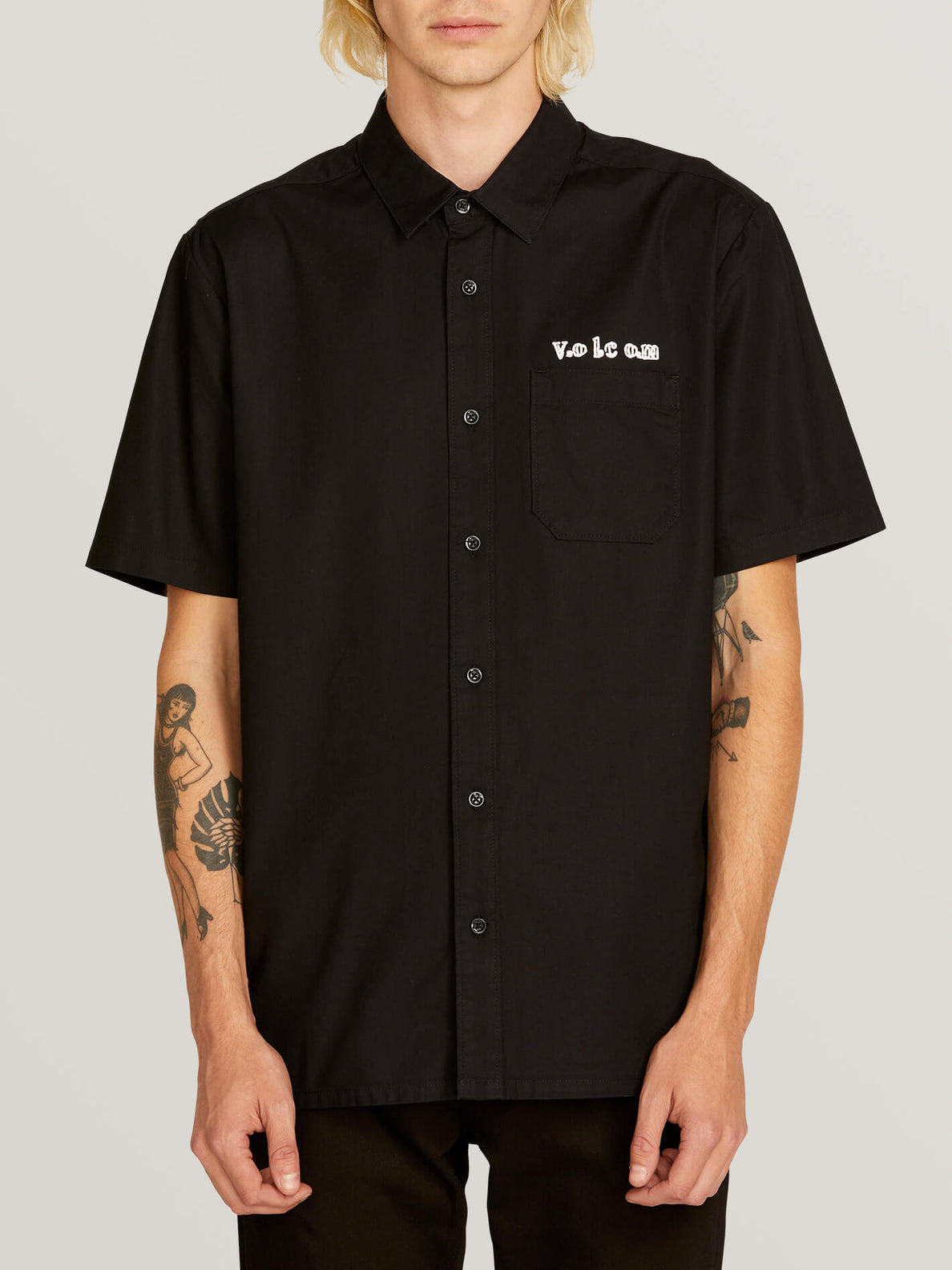 Crowd Control Short Sleeve Shirt In Black, Front View