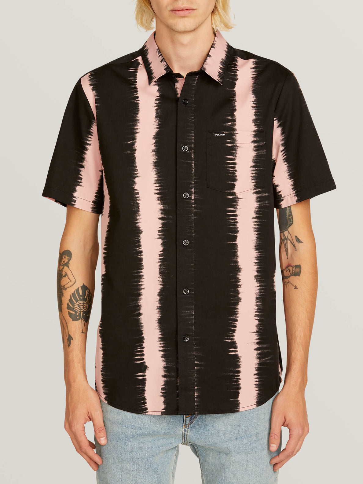 Fade This Short Sleeve Shirt In Light Mauve, Front View
