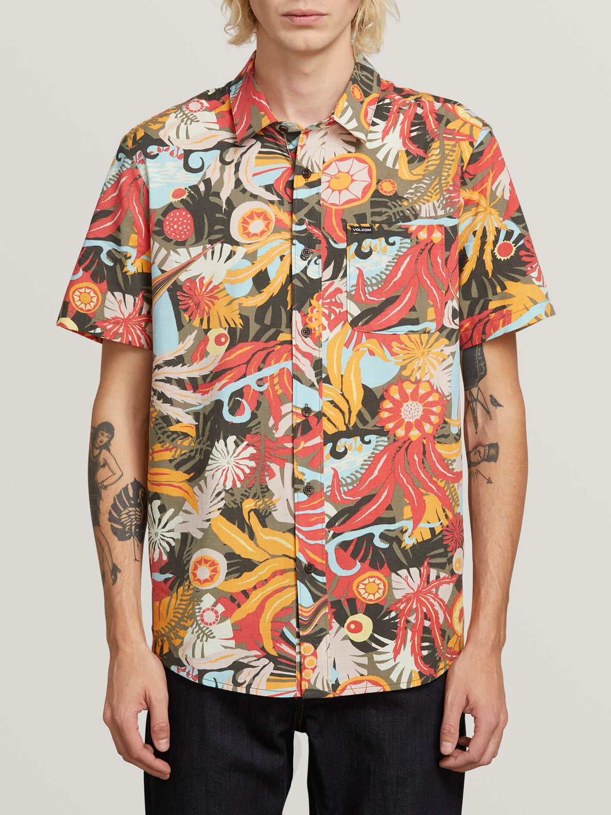 Psych Floral Short Sleeve Shirt In Army, Front View