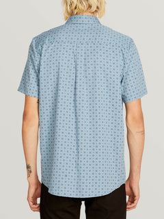 Salt Dot Short Sleeve Shirt In Vintage Blue, Back View