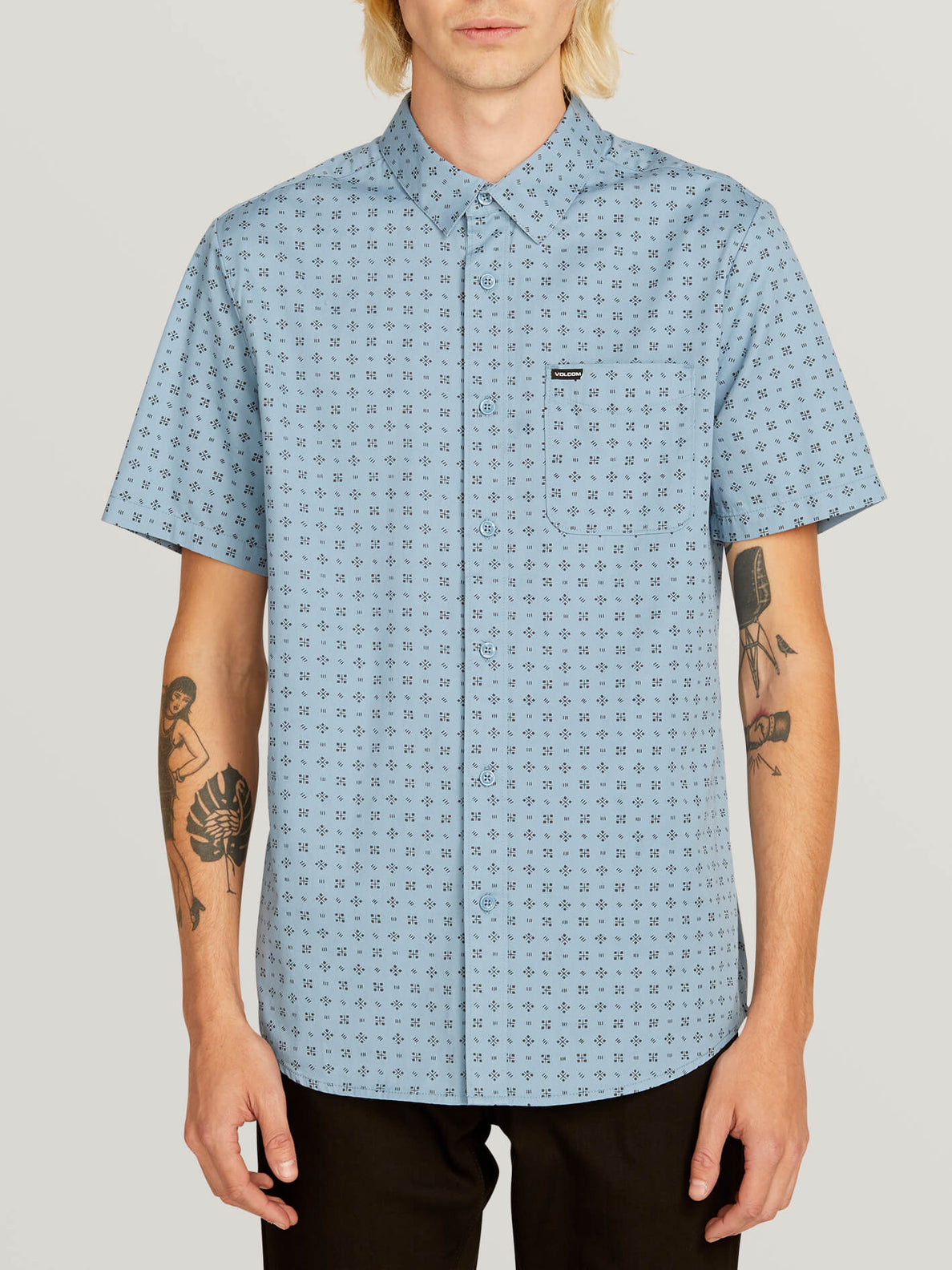 Salt Dot Short Sleeve Shirt In Vintage Blue, Front View