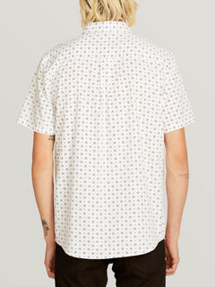 Salt Dot Short Sleeve Shirt In White, Back View