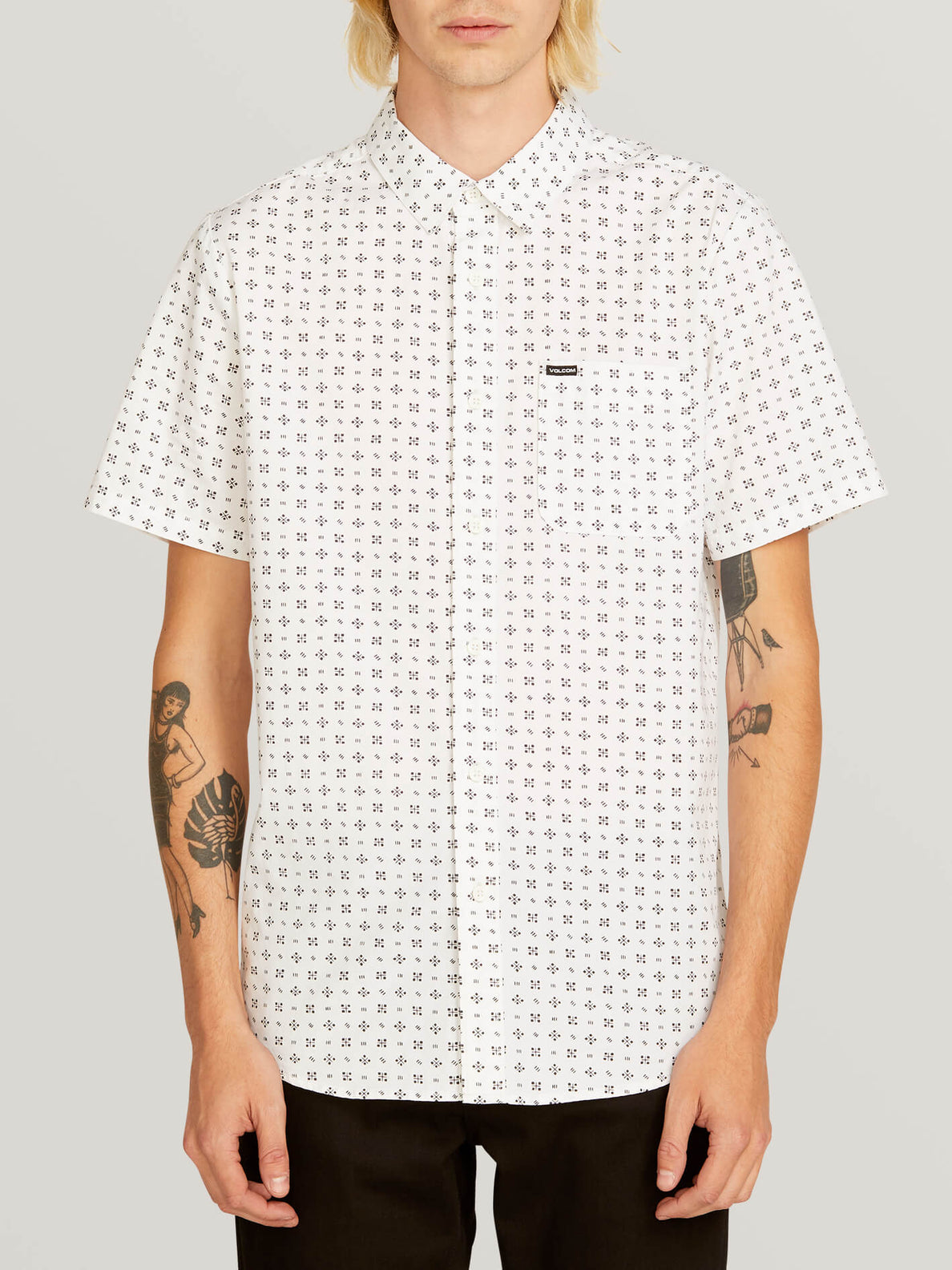 Salt Dot Short Sleeve Shirt In White, Front View