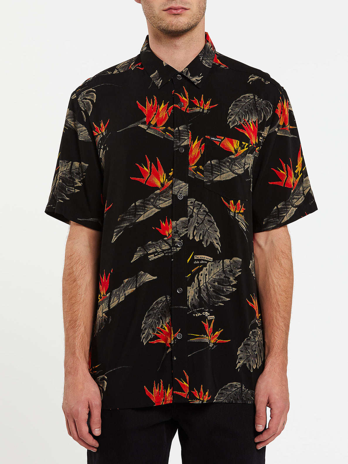 Floral Erupter Short Sleeve - Black (A0432001_BLK) [F]