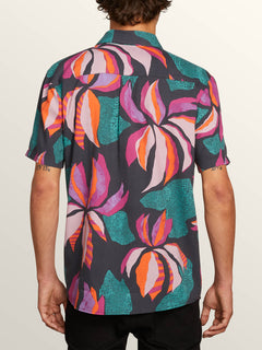Garden Floral Short Sleeve Shirt In Asphalt Black, Back View