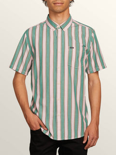 The Bold Stripe Short Sleeve Shirt In Deep Sea, Front View