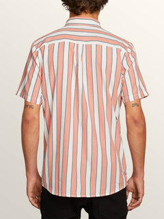 The Bold Stripe Short Sleeve Shirt In White Flash, Back View