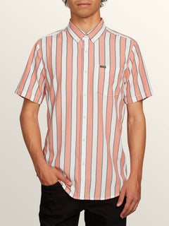 The Bold Stripe Short Sleeve Shirt In White Flash, Front View